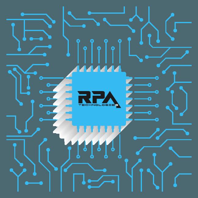 Circuito con chip en el centro con el logo de RPA