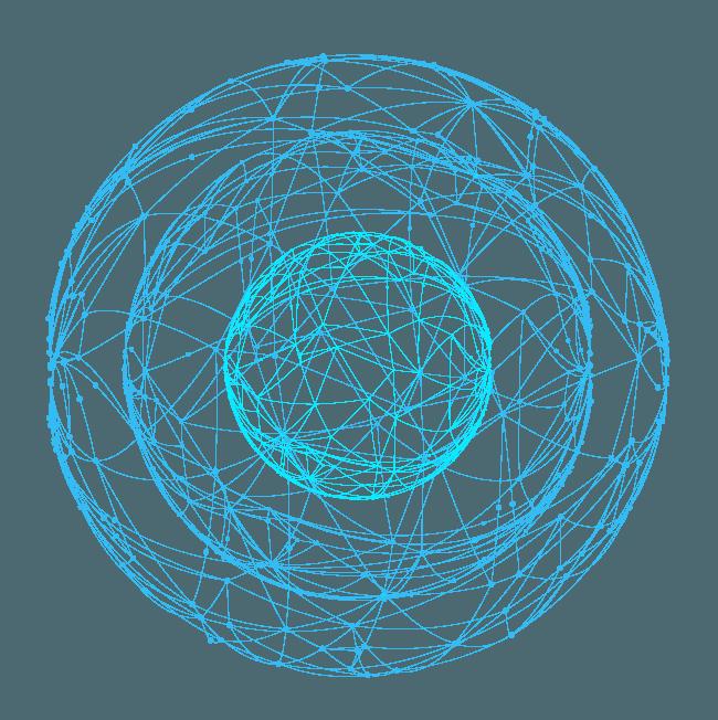 Esferas concéntricas en modo malla